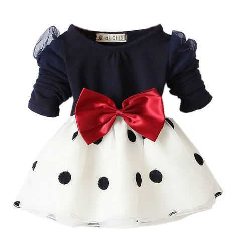 f75e1657c Zhuannian Baby Girls Long Sleeve Spot Bowknot Organza Dress  Amazon ...