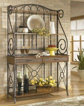 Wrought Iron Bakers Rack With Images Bakers Rack Decorating
