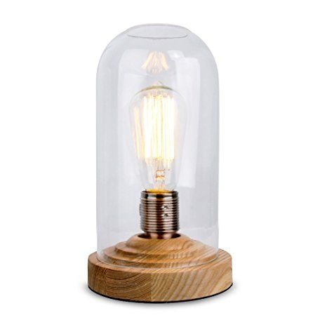 Designer Antique Oak Effect Wood Base And Clear Glass Dome Edison Steampunk Squirrel Cage Table Lamp Glass Bedside Table Lamps Cage Table Lamp Lamp