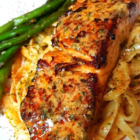 with (WSU)Cajun Butter Sauce Try adding WhipSomethingUp Butter Sauce to your Salmon dishes….Try adding WhipSomethingUp Butter Sauce to your Salmon dishes…. Baked Salmon Recipes, Seafood Recipes, Cooking Recipes, Healthy Recipes, Gourmet Dinner Recipes, Cajun Salmon Pasta Recipe, Cajun Recipes, Salmon Recepies, Delicious Salmon Recipes