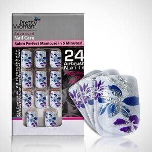 Pretty Woman Airbrush Nail Tips - White with Glitter Flower Design by Pretty Woman. $6.49. Chic, cute and convenient for any style. Salon perfect manicure in 5 minutes. Contains: 24 nails, easy pink glue and easy applicator.