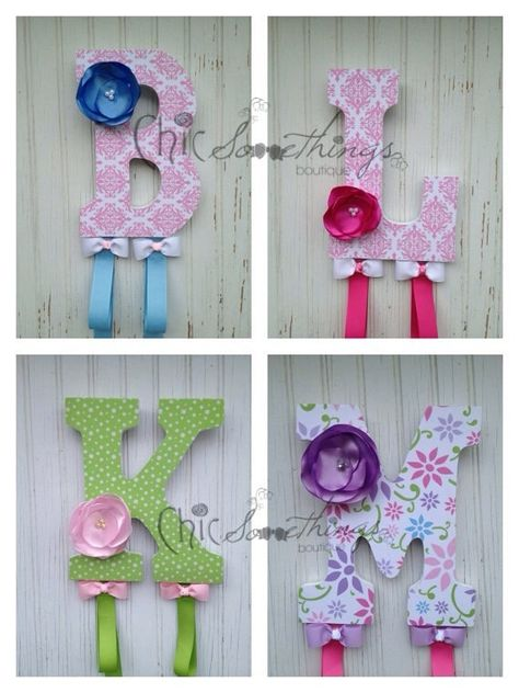 My bow holders are a unique and practical additional to any nursery or girls room. No more clutter or tangled hair accessories. Turn your hair accessories into a personalized decorative focal point! ITEM DETAILS: -Letters are hand decoupaged with decorative paper—not fabric. -Letters