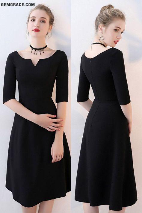 d66c23b1ed4 Simple Black Knee Length Party Dress Aline  BLS86058 - GemGrace.com ...
