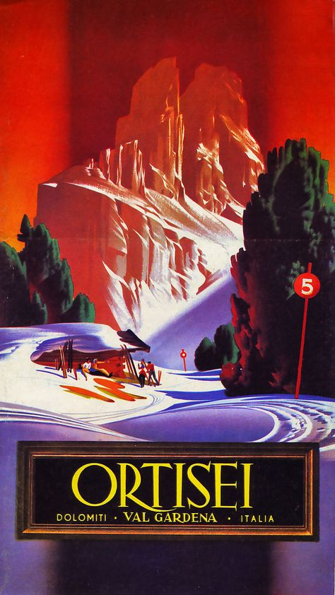 ORTISEI VAL GARDENA   Ad Art Ski Skiing Deco Travel Poster Print