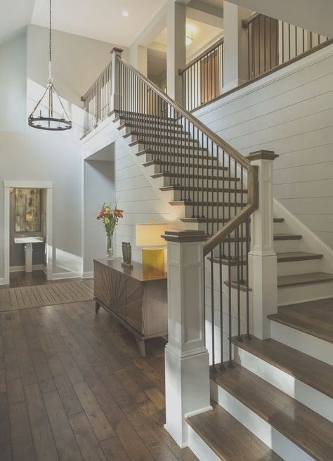 stair newel post stairs designs staircase transitional with table lamp newel post lake house stair newel post repair Staircase Decor, Modern Farmhouse, Staircase Railings, Stair Remodel, House Staircase, House Stairs, Stair Railing Design, Modern Staircase