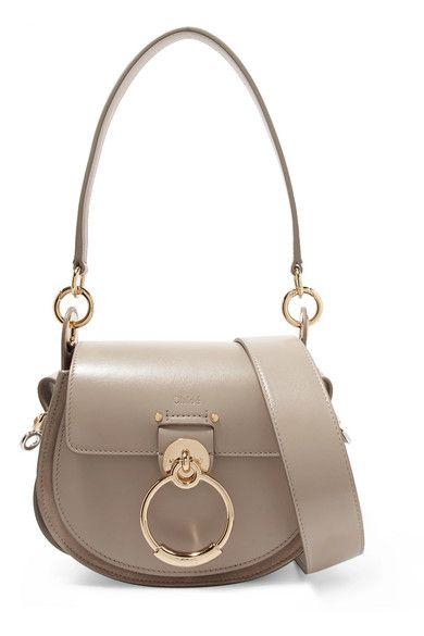 Small ChloéTess com Leather A And Porter Shoulder Bag Net Suede 8kn0wOP