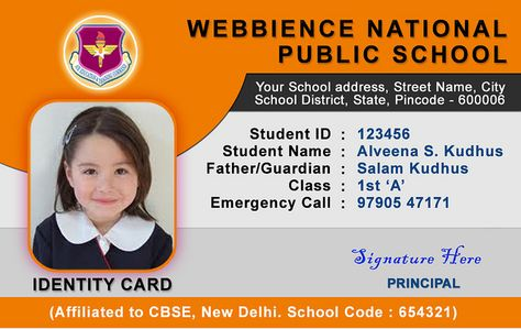 School Id Card  Horizontal Student Id Card Design By Webbience