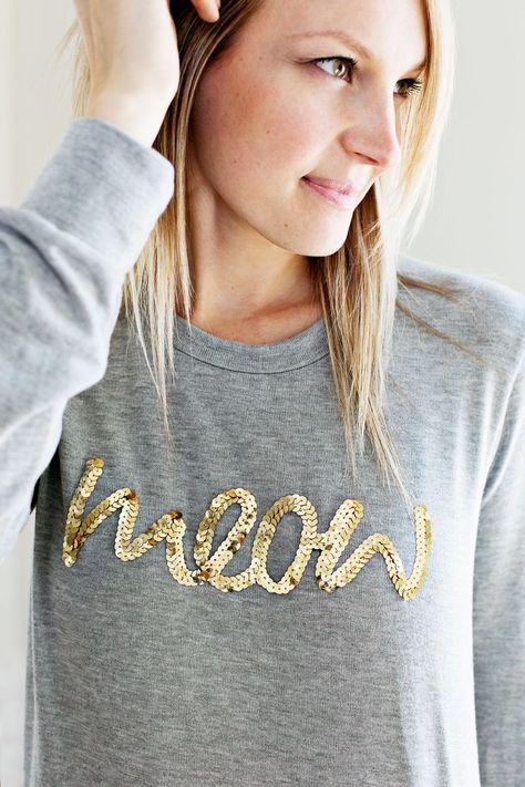 diy  meow sweatshirt - sequins - round up of several DIY diy sequin ideas