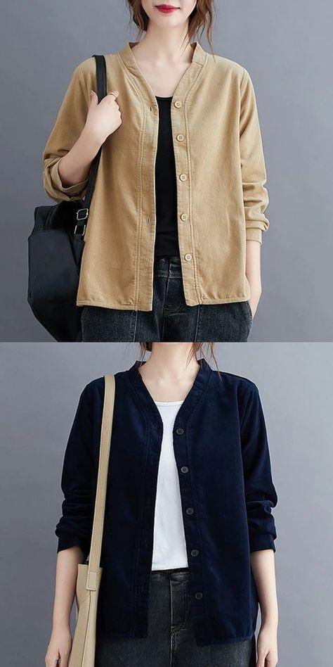 omychic plus size corduroy vintage korean style Casual loose autumn shirt women