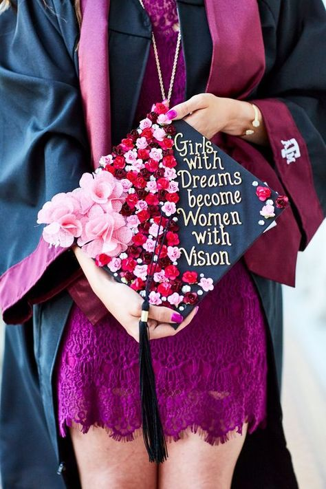 Texas A&M University Graduation cap- Girls with dreams become women with vision. Texas A&M University Graduation cap- Girls with dreams become women with vision. Photo by: Robby Young Graduation Cap Toppers, Graduation Cap Designs, Graduation Cap Decoration, Grad Cap, Decorated Graduation Caps, College Graduation Pictures, College Graduation Parties, Graduation Diy, Graduation Dresses