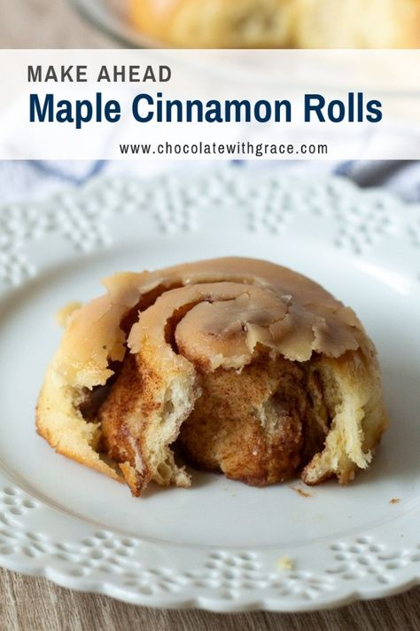 Maple Cinnamon Rolls are a perfect treat for Christmas Morning. You can make them ahead of time. Friends and family loves these cinnamon rolls for the holidays. #cinnamonrolls #christmasbaking #christmasmorning #holidays #bread #recipe