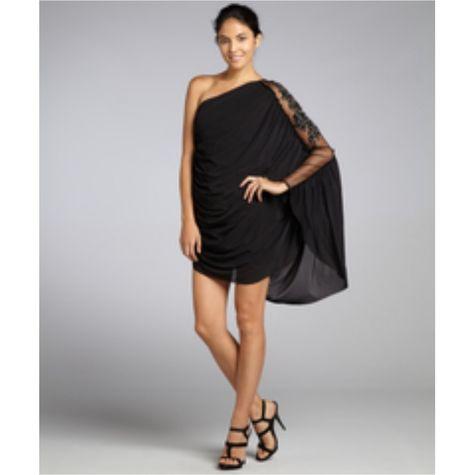 ABS Allen Schwartz Dresses | Abs Black Cold Shoulder Flounce Hem Dress Plus 2x | Poshmark