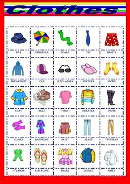 Clothes Pictionary Material Escolar En Ingles Computadora En Ingles Actividades De Inglés Para Niños