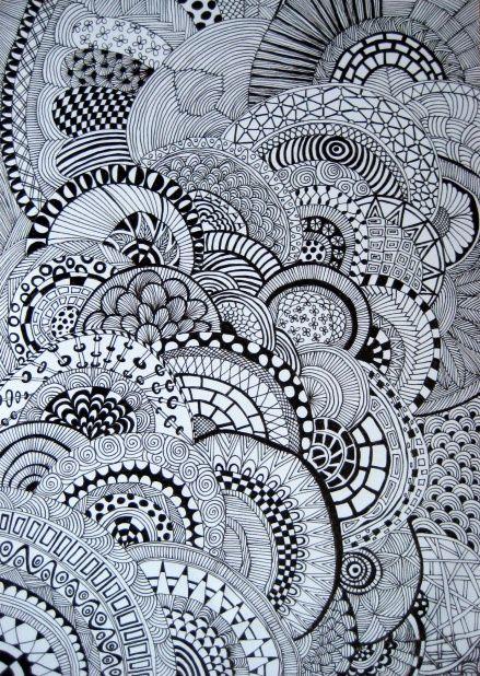 Zwart/ wit zentangle | Zentangle - Art, Zentangle patterns en Doodle art