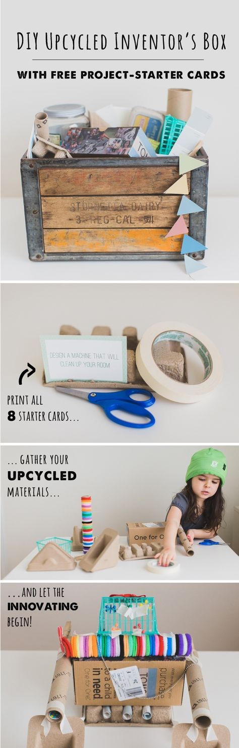 Upcycled Inventor's Box. Engineering, creativity, and upcycling are what this project is all about! Oh, and it's free.