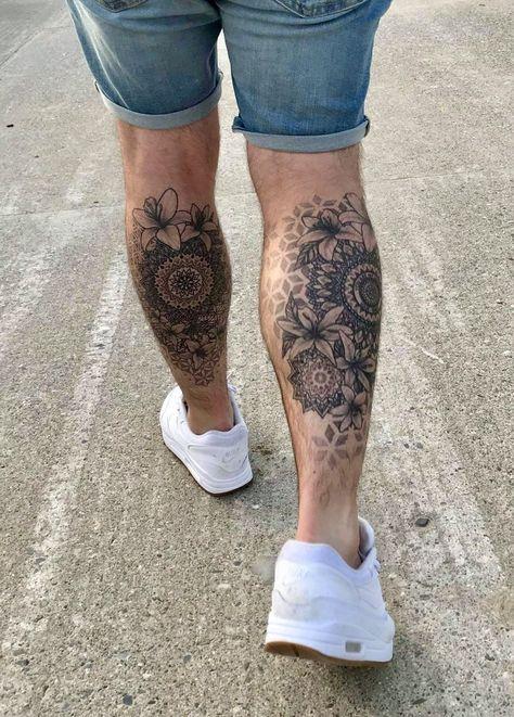 The start of Mandala tattoo leg sleeve. Lilly tattoo tattoo for men on leg Mandala tattoo leg sleeve
