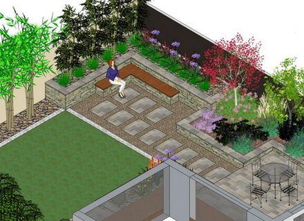 L Shaped Garden Design Ideas Backyard Landscaping Sloped Garden