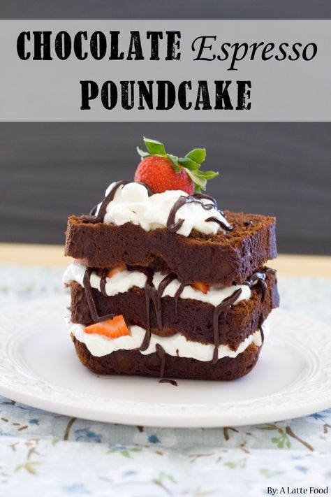 Chocolate Espresso Pound Cake: This chocolate espresso pound cake is rich, decadent, and absolutely chocolatey! With homemade whipped cream, fresh strawberries, and chocolate ganache, this might be your new favorite dessert!