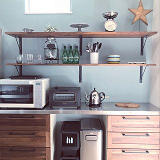 キッチン ウォールナット アイアン ステンレス天板 無垢キッチン