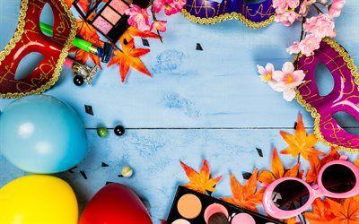 Scarica Sfondi Carnevale Maschere Palline Colorate Vacanze
