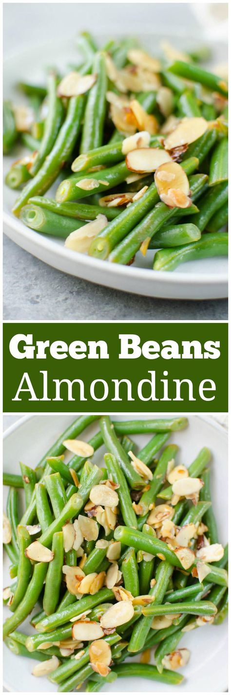 Green Beans Almondine - fresh green beans tossed with buttery toasted almonds and lemon juice. A quick, simple, and delicious side dish.