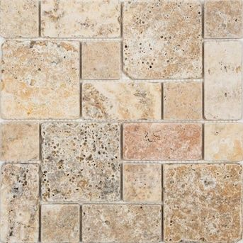 Satori Scabos 12 In X 12 In Tumbled Natural Stone Travertine Mixed Pattern Mosaic Wall Tile Lowes Com In 2020 Mosaic Wall Tiles Tile Floor Floor Tile Design