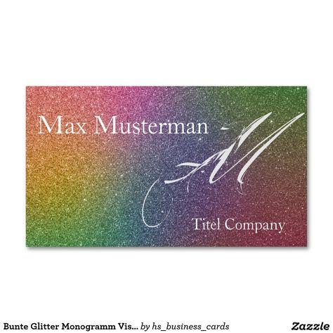 Bunte Glitter Monogramm Visitenkarte Zazzle De