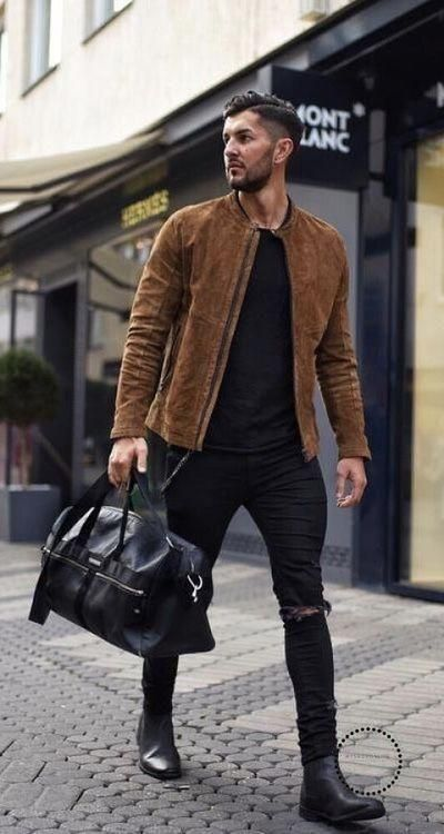 - with a fall streetwear idea with a brown suede button up jacket black shirt black ripped jeans black leather duffle bag black chelsea boots