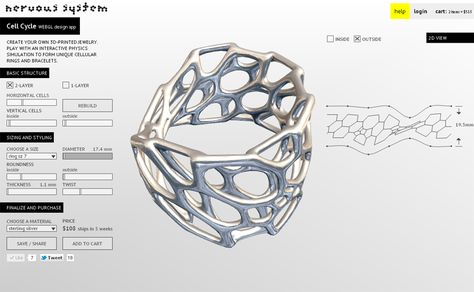 Create your own 3D Printed Jewelry . Play with interactive Physics simulation to form Unique Cellular Designs with rendered materials and lights in an interactive 3D Environment