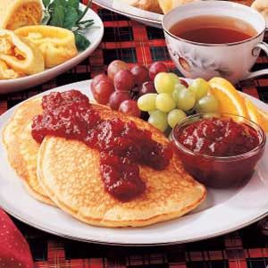 Still looking for a way to use up some cranberry sauce? Try these pancakes - Eggnog Pancakes with Cranberry Sauce Recipe