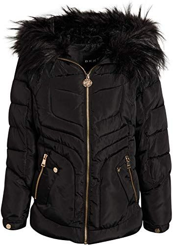 Girls Quilted Fleece Lined Winter Puffer Jacket Coat Faux Fur Trim Zip-Off Hood