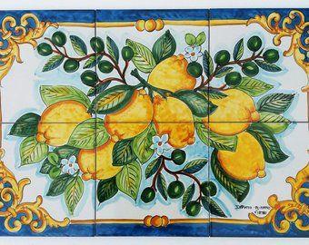 hand painted tile mural lemon branch