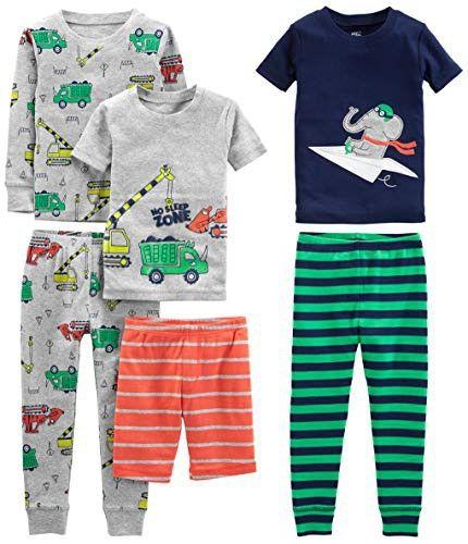 Pack of 6 Simple Joys by Carters Unisex Baby 6-Piece Snug Fit Cotton Pajama Set