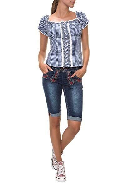 Hailys Damen Bermuda Jeans Pauline Trachten Look Lederhose