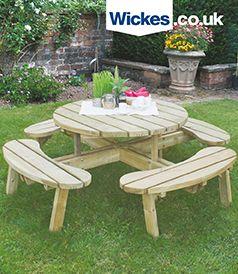 Forest Garden Circular Picnic Table Wooden Garden Furniture Picnic Table Diy Garden Furniture