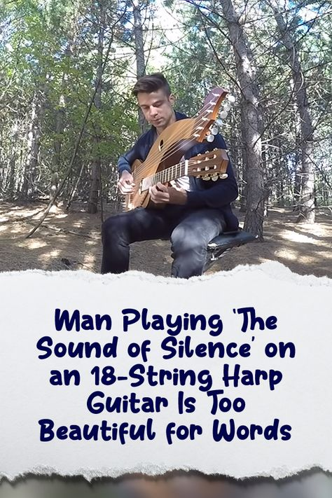 Man Playing 'The Sound of Silence' on an Harp Guitar Is Too Beautiful for Words Music Lyrics, Music Songs, Number One Hits, Christian Music Videos, Song Playlist, Harp, Playing Guitar, Vignettes, Country Music