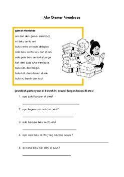 Lembar Kerja Membaca Reading Dalam Bahasa Indonesia Tpt Reading Class Worksheets Teaching