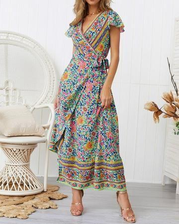 Bright Floral Maxi Dress Wrap Dress Dresses Turtle Island Co Midi Short Sleeve Dress Bright Floral Maxi Dress Lace Beach Dress