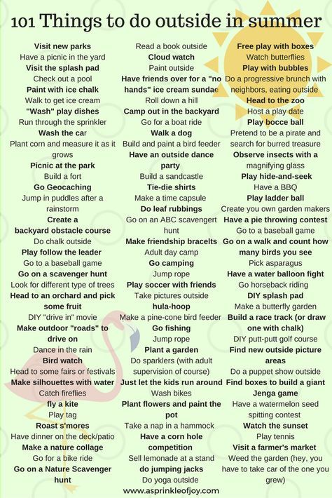 101 Things To Do Outside This Summer A Sprinkle Of Joy Summer Fun For Kids Fun Summer Activities Summer Fun List