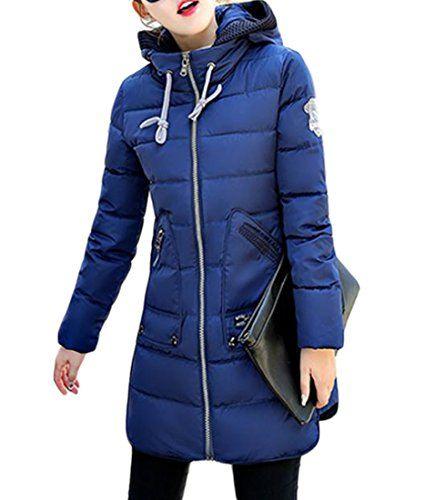 Hmarkt Mens Stand Collar Zip-Up Drawstring Hooded Quilted Thicken Down Jacket
