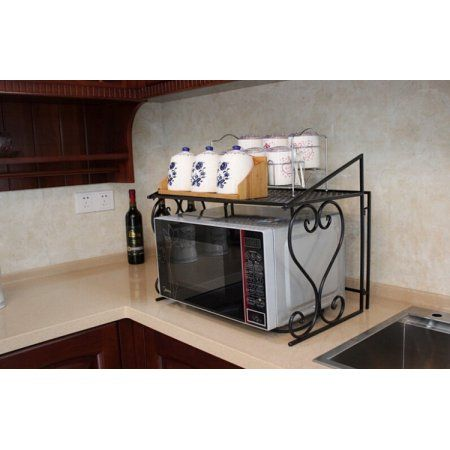 Metal Microwave Oven Rack Shelf Kitchen Shelves Counter And Cabinet Shelf By Dazone Walmart Com Countertop Storage Kitchen Storage Rack Kitchen Shelves