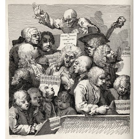 The Chorus From The Original Picture By Hogarth From The Works Of Hogarth Published London 1833 Canvas Art - Ken Welsh Design Pics (28 x 30)