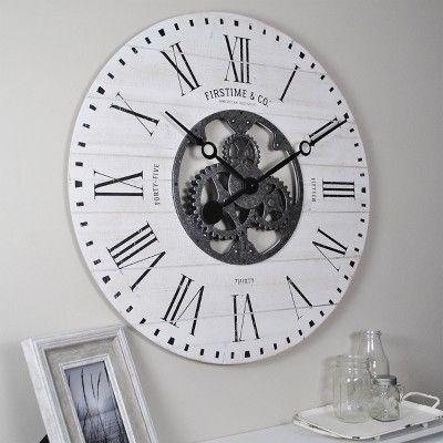 27 Shiplap Farmhouse Gears Wall Clock Aged White Firstime Co In 2020 Gear Wall Clock Large Gear Wall Clock Farmhouse Wall Clocks