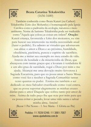 Santa Catarina Tekakwitha Com Imagens Oracao Mensagens De