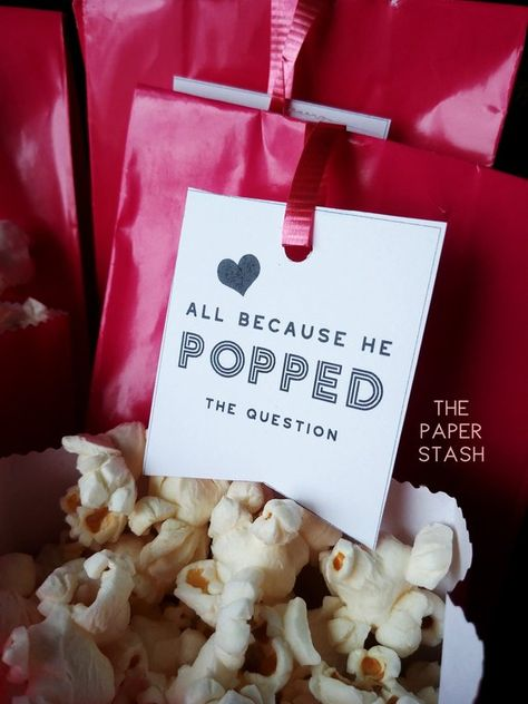 PRINTABLE, Tags, Gift Tags, All Because He Popped The Question, Popcorn Bar, Wedding, Bridal Shower, digital tag, printables, DIY, Favors
