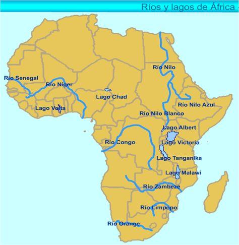 mapa continente africa rios y lagos  Buscar con Google