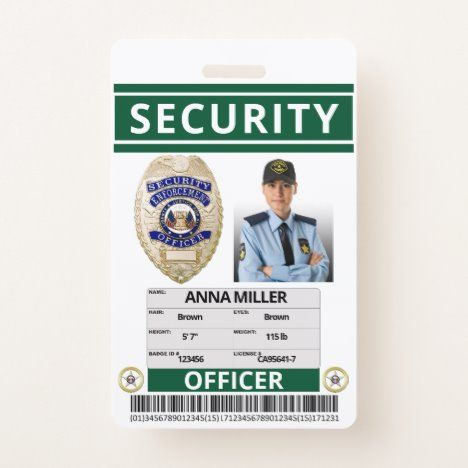 Green Security Officer Custom Print Guard Employee Badge Zazzle Com In 2021 Security Officer Badge Custom Print