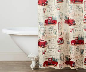 Winter Wonder Lane Retro Truck Shower Curtain Hooks Set Big Lots