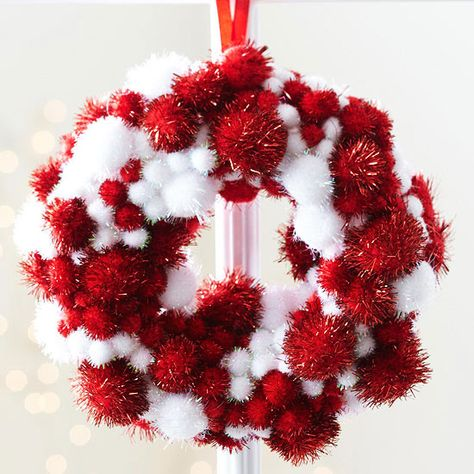 Gather the kids to help create these miniature Christmas ornaments for around the house and on the tree! http://www.bhg.com/christmas/ornaments/easy-christmas-ornaments/?socsrc=bhgpin122114minipompomwreathornament&page=14