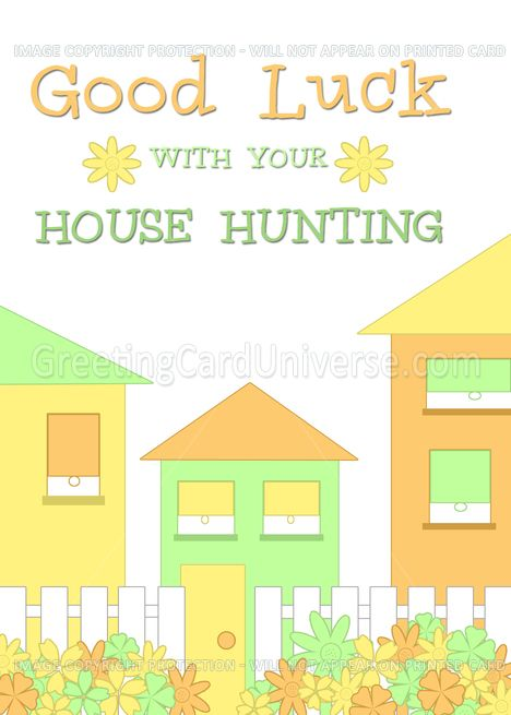 Good Luck House Hunting Card Colorful Houses Card Ad Ad House Hunting Good Luck New Address Cards House Colors Address Card
